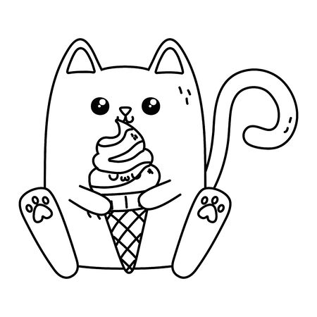 Cat cartoon design, Kawaii expression cute character funny and emoticon theme Vector illustration  イラスト・ベクター素材