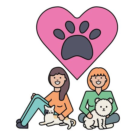 young girls with cute cat and dog mascots vector illustration design