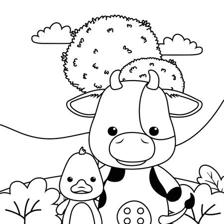 Cow and duck cartoon design, Animal cute zoo life nature and fauna theme Vector illustration  イラスト・ベクター素材