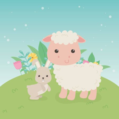 cute sheep and rabbit animals farm characters vector illustration design