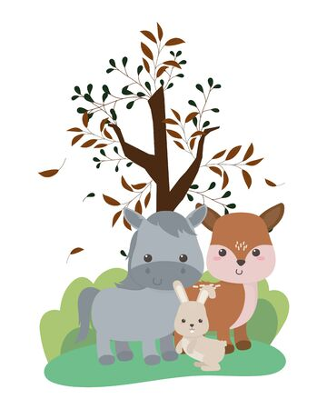 Donkey rabbit and deer cartoon design, Animal cute zoo life nature and fauna theme Vector illustration