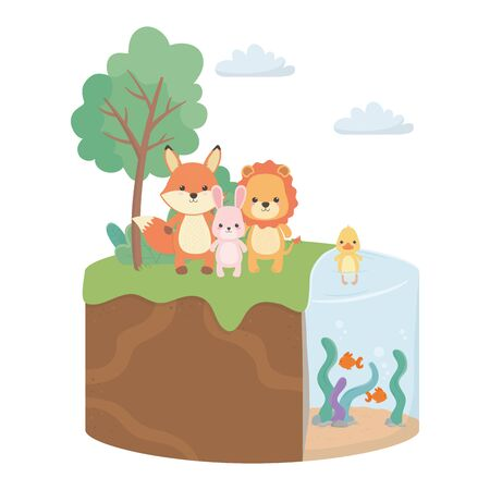 Fox rabbit duck and lion cartoon design, Animal cute zoo life nature and fauna theme Vector illustration
