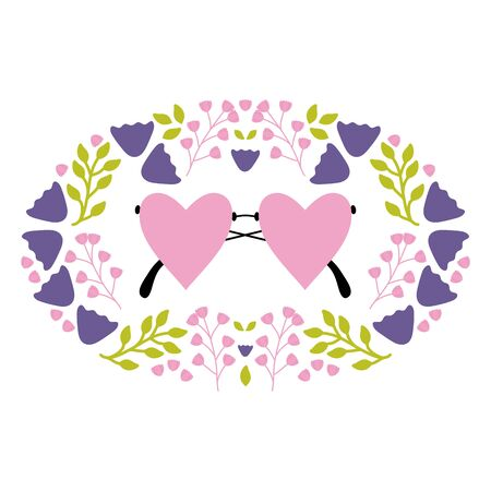 fashion glasses with hearts love shape and floral wreath vector illustration design