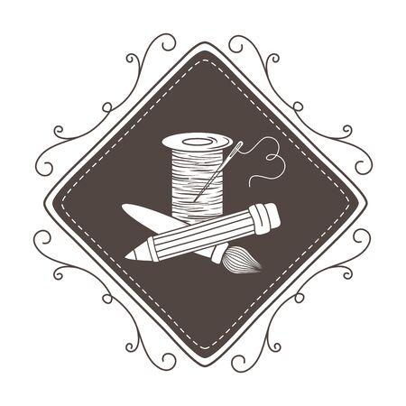 Thread pencil and brush design, Tailor shop fashion textile workshop sewing and clothing theme Vector illustration