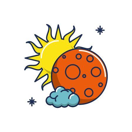 moon sun cloud weather line and fill image vector illustration Ilustracja