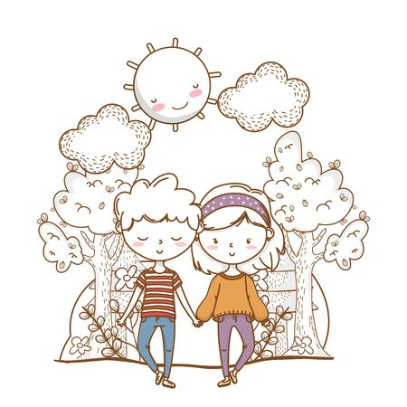 Romantic love couple cute stylish outfit bandana sweater background vector illustration graphic design  イラスト・ベクター素材