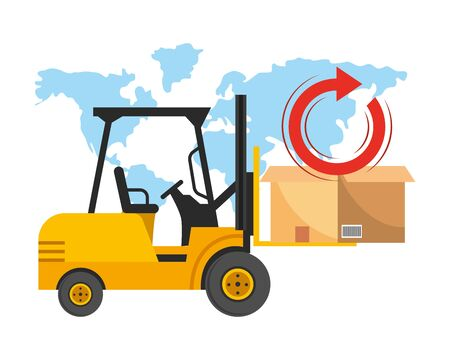 lift truck and box with return arrow and world map vector illustration graphic design Ilustracja