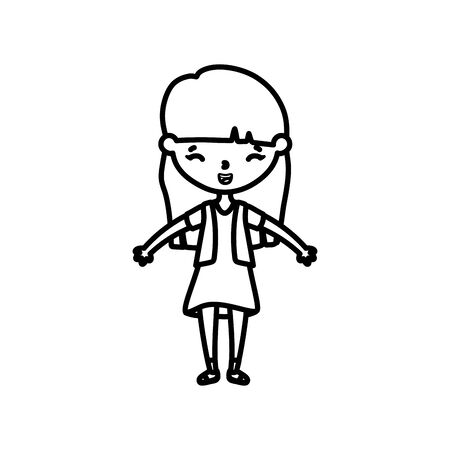 happy little girl cartoon character line style vector illustration