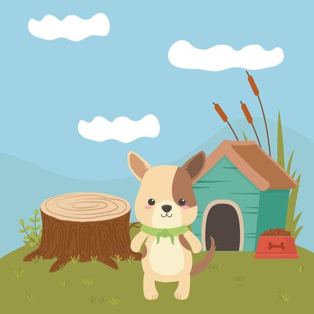 Dog cartoon design, Animal cute zoo life nature and fauna theme Vector illustration