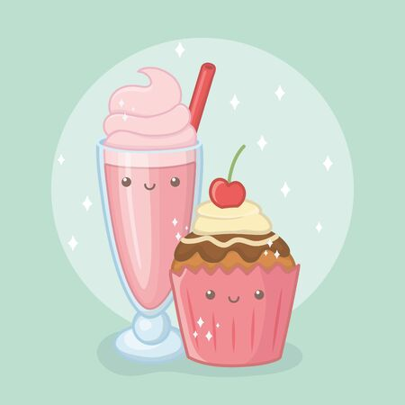 delicious and sweet milkshake and products kawaii characters vector illustration