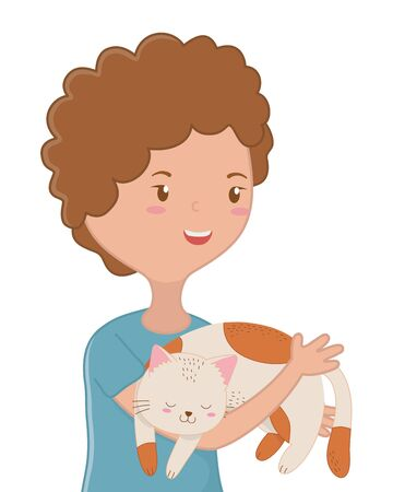 Girl with cat cartoon design, Mascot pet animal domestic cute life nature and fauna theme Vector illustration