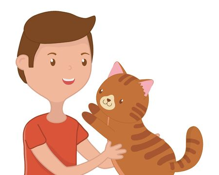 Boy with cat cartoon design, Mascot pet animal domestic cute life nature and fauna theme Vector illustration