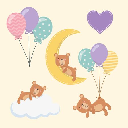 baby shower card with little bears characters vector illustration design  イラスト・ベクター素材