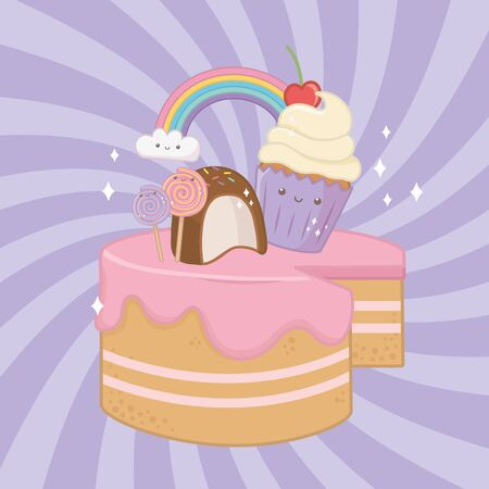 sweet cake of strawberry cream with kawaii characters vector illustration design