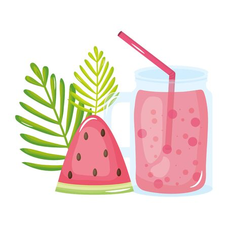 fresh juice fruit jar summer icon vector illustration design Foto de archivo - 135432346