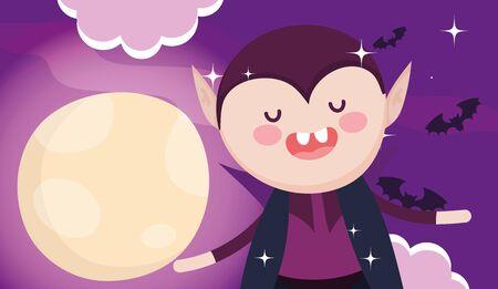 dracula costume moon night halloween image vector illustration