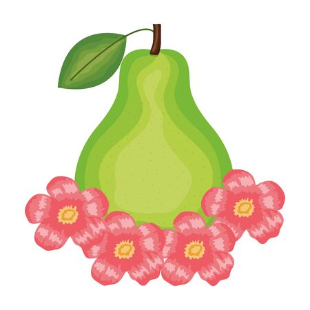 fresh pear fruit and floral decoration vector illustration design Foto de archivo - 135432024