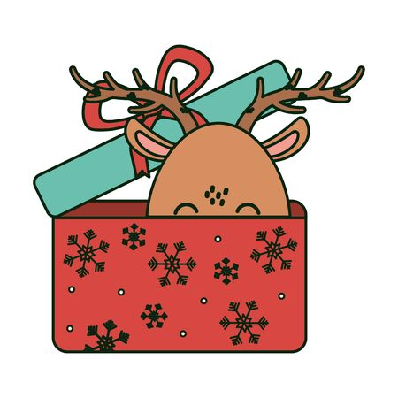 reindeer coming out gift box celebration merry christmas vector illustration
