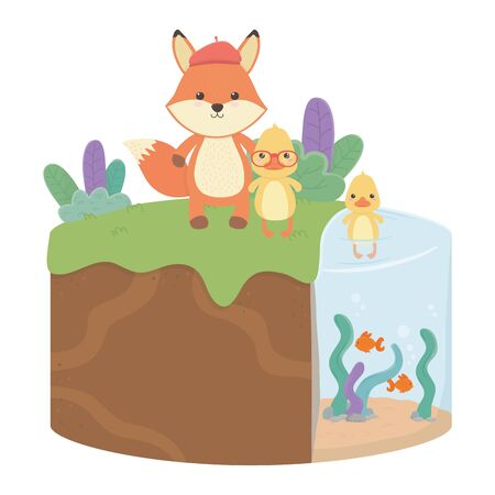 Fox and duck cartoon design Illusztráció