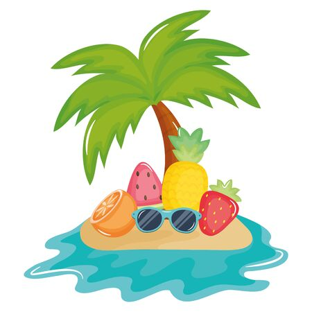 tree palm beach in island with tropical fruits vector illustration design Ilustracja