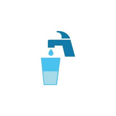 water faucet with glass cup flat style icon vector illustration design
