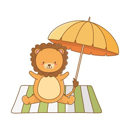 cute lion enjoying the summer and vacations holidays cartoon vector illustration graphic design
