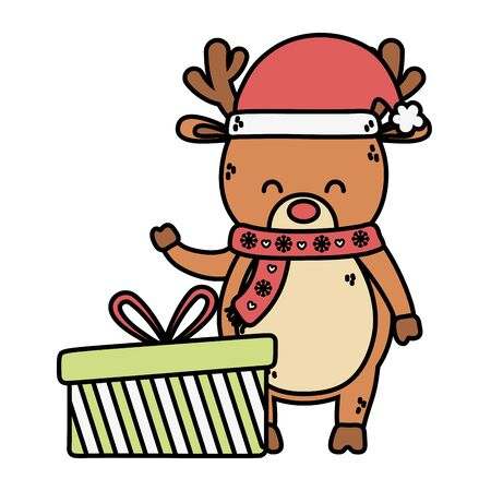 reindeer waving hand with gift decoration merry christmas vector illustration