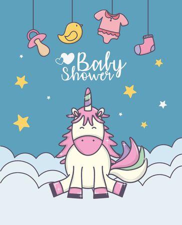 baby shower happy unicorn on clouds sock duck toys vector illustration Illusztráció