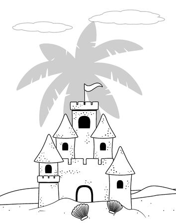 Sand castle design, Summer beach toy vacation leisure and play theme Vector illustration