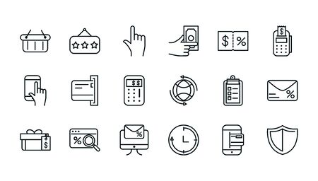 shopping commercial icons set line style vector illustration Stock Illustratie