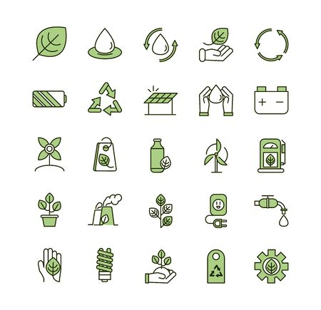 environment ecology icons collection line and fill vector illustration