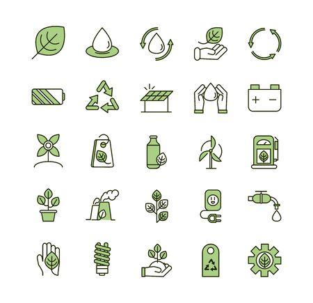 Línea de colección de iconos de ecología ambiental y ilustración de vector de relleno