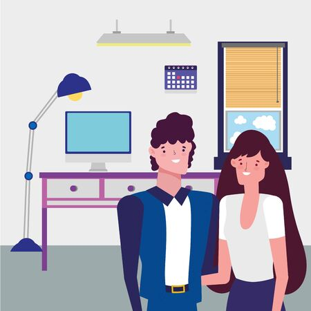 Businessman and businesswoman design, Man woman business management corporate job occupation and worker theme Vector illustration Illustration