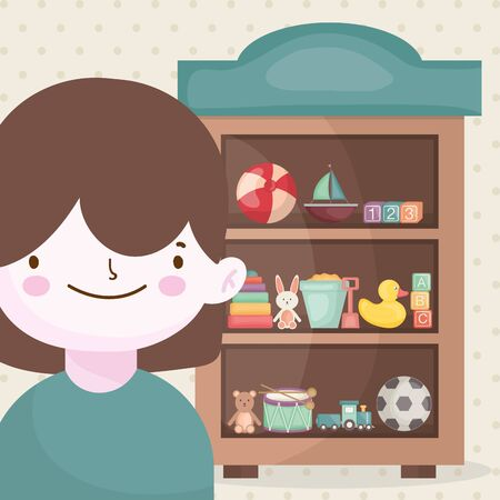 happy little boy and wooden shelf toys vector illustration