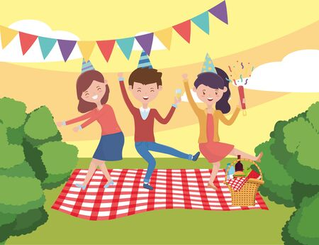 People cartoons having picnic design, Food party summer outdoor leisure healthy spring lunch and meal theme Vector illustration