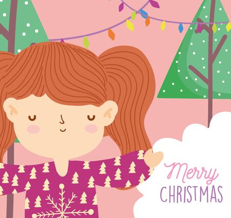 merry christmas girl with ugly sweater trees lights snow vector illustration
