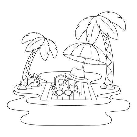 summer vacation holidays leisure beach travel objects over towel under umbrella at beach scene cartoon vector illustration graphic design