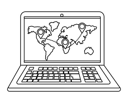 laptop showing map and location pointers vector illustration graphic design Illustration