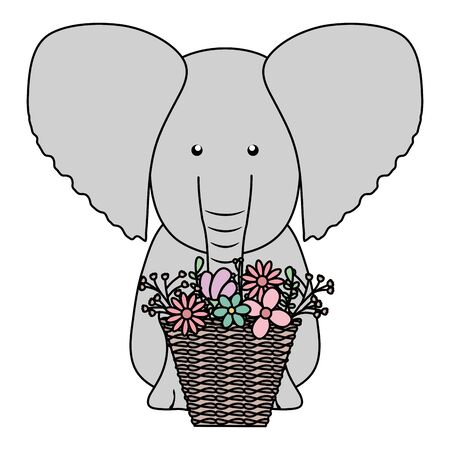 elephant with floral basket bohemian style character vector illustration design