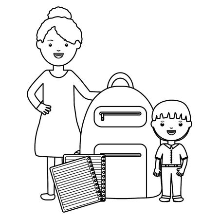 cute little student boy with female teacher and schoolbag vector illustration design