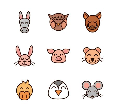 cute face animals cartoon icon on white background