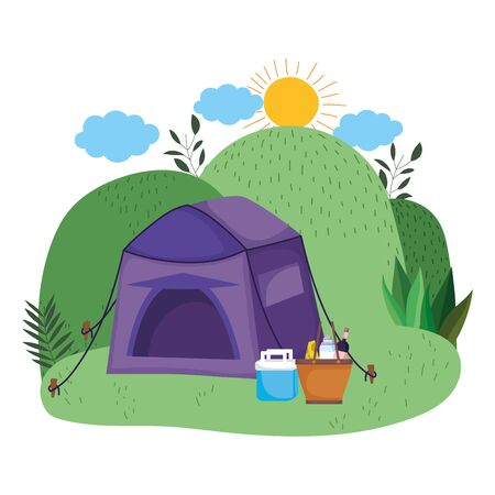 Tent design, Camping forest adventure lifestyle summer travel and outdoor theme Vector illustration Stock Illustratie