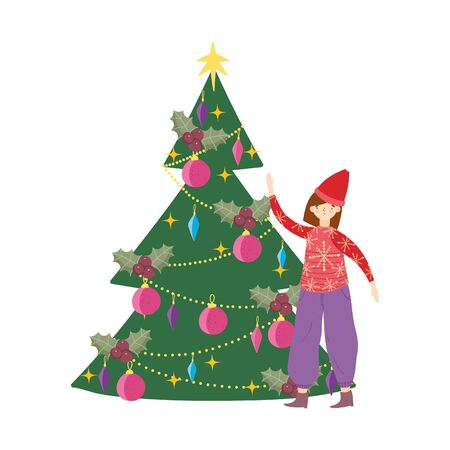 merry christmas woman with ugly sweater tree decoration celebration vector illustration