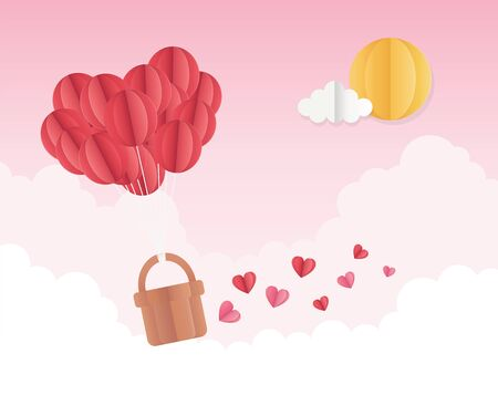 happy valentines day origami balloons hearts basket sun sky clouds vector illustration