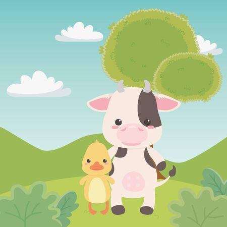 Duck and cow cartoon design, Animal cute zoo life nature and fauna theme Vector illustration