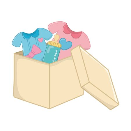 baby clothes with heart on it, feeding bottle and bow in a box vector illustration graphic design