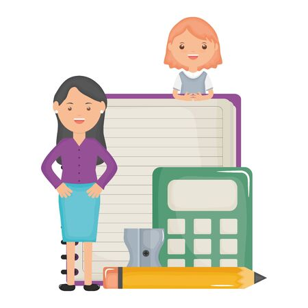 cute little student girl with female teacher and calculator vector illustration design Ilustracja