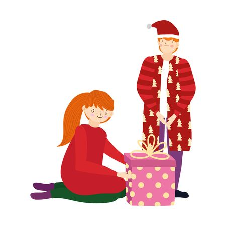 merry christmas father and daughter with gift box celebration vector illustration