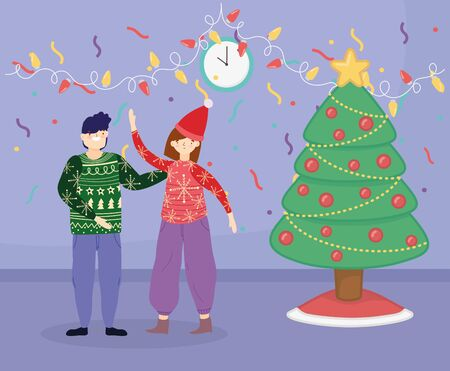 merry christmas couple with ugly sweater tree lights confetti celebration vector illustration
