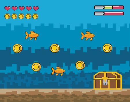 pixelated videogamen overwater scene with coffer and fidhes with coins vecctor illustration